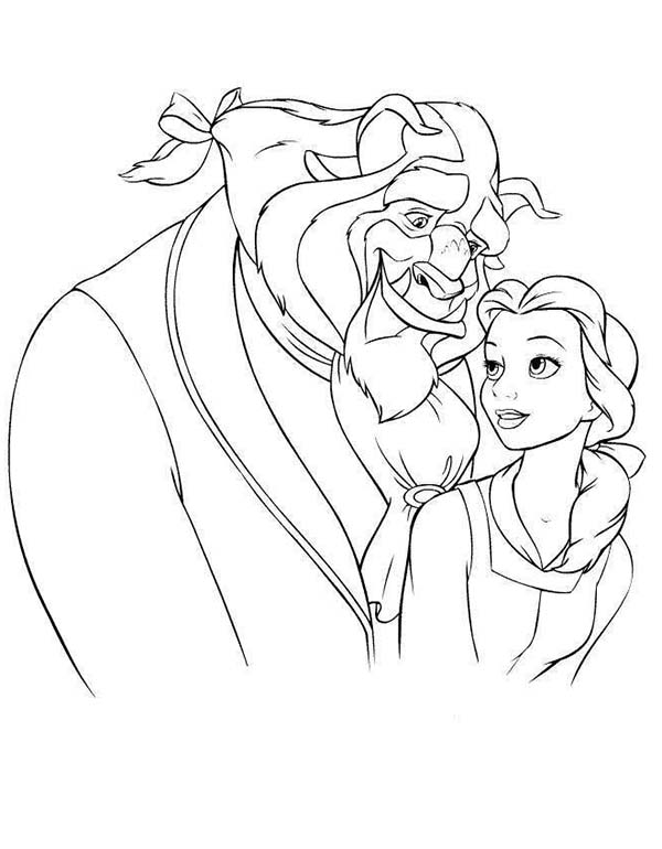 Belle, : The Beast Hugging Belle Coloring Pages