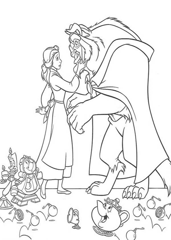 Belle, : The Beast Meet The Beautiful Belle Coloring Pages