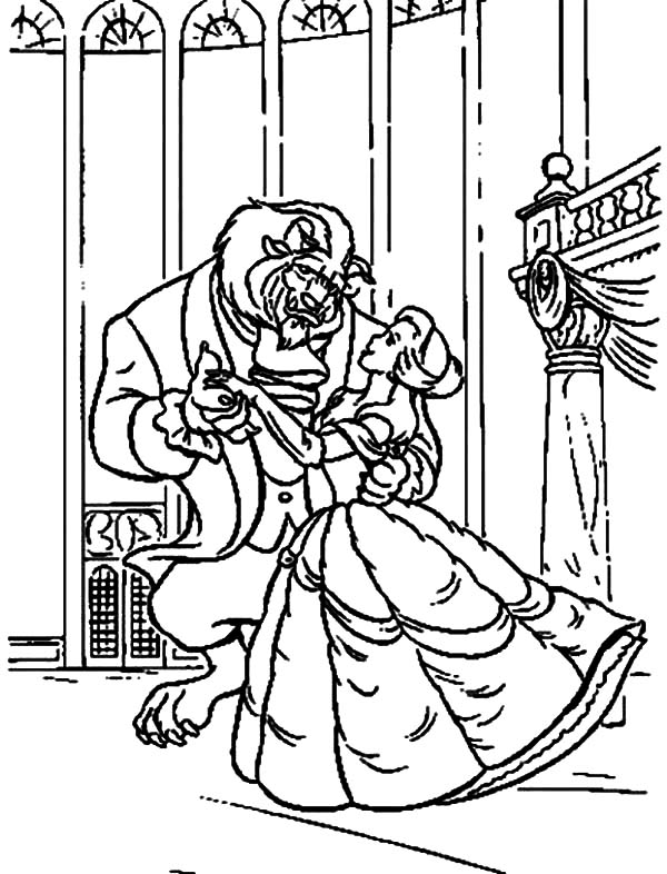 Belle, : The Beast and Princess Belle  Dancing Coloring Pages