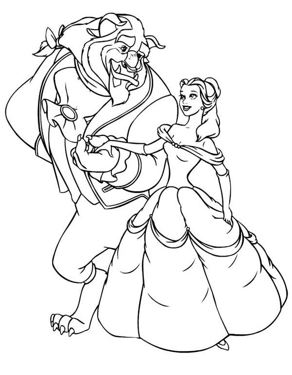 Belle, : The Beast ask Belle to Dance Coloring Pages
