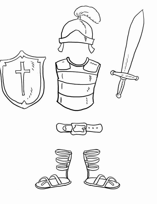 Armor of God, : The Bible Armor of God Coloring Page