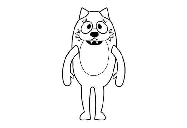 Yo Gabba Gabba, : The Blue Cat Dragon Toodee from Yo Gabba Gabba Coloring Page