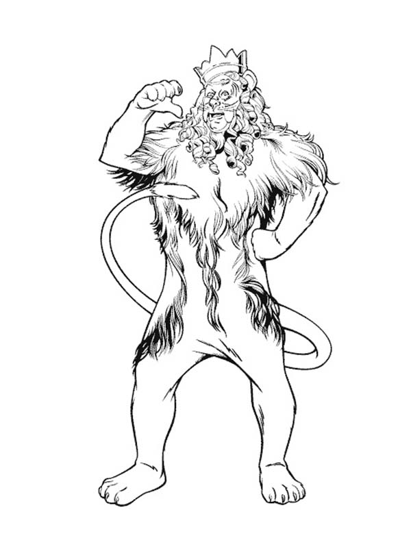 The Wizard of Oz, : The Cowardly Lion Proud of Himself in the Wizard of Oz Coloring Page