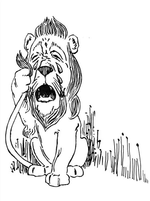 The Wizard of Oz, : The Cowardly Lion is Crying in the Wizard of Oz Coloring Page