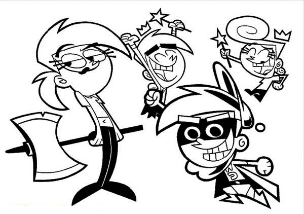 The Fairly Odd Parents, : The Fairly Odd Parents Hero and Villain Coloring Page
