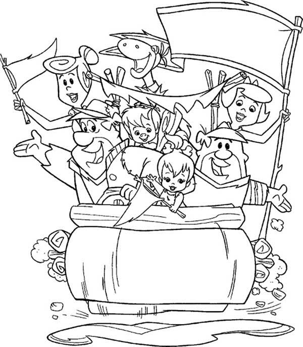 The Flintstones, : The Flintstones Big Family Coloring Page