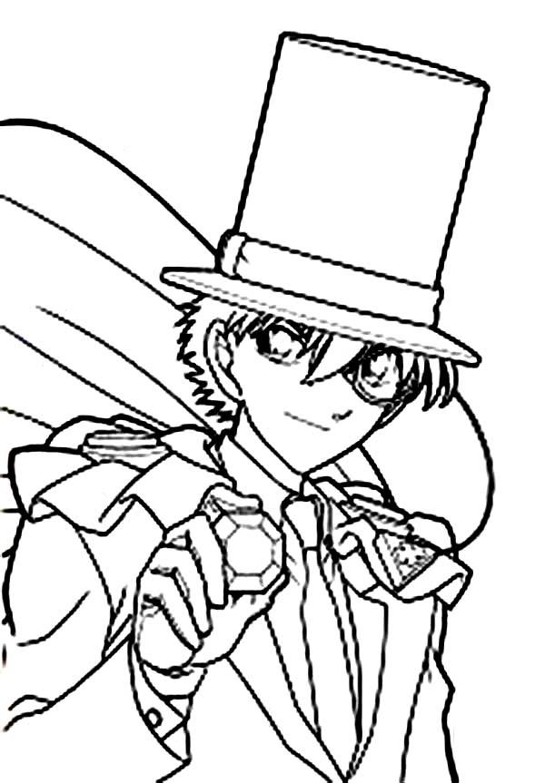 Detective Conan, : The Kid of Phantom Thief in Action in Detective Conan Adventure Coloring Page