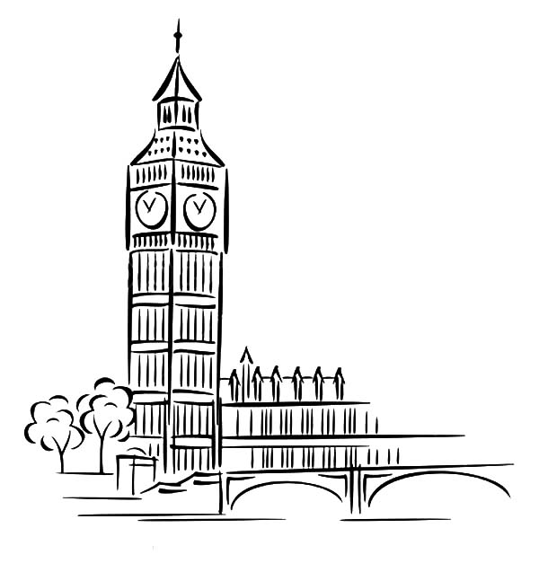 Big Ben, : The Most Popular Landmark in London Big Ben Coloring Page