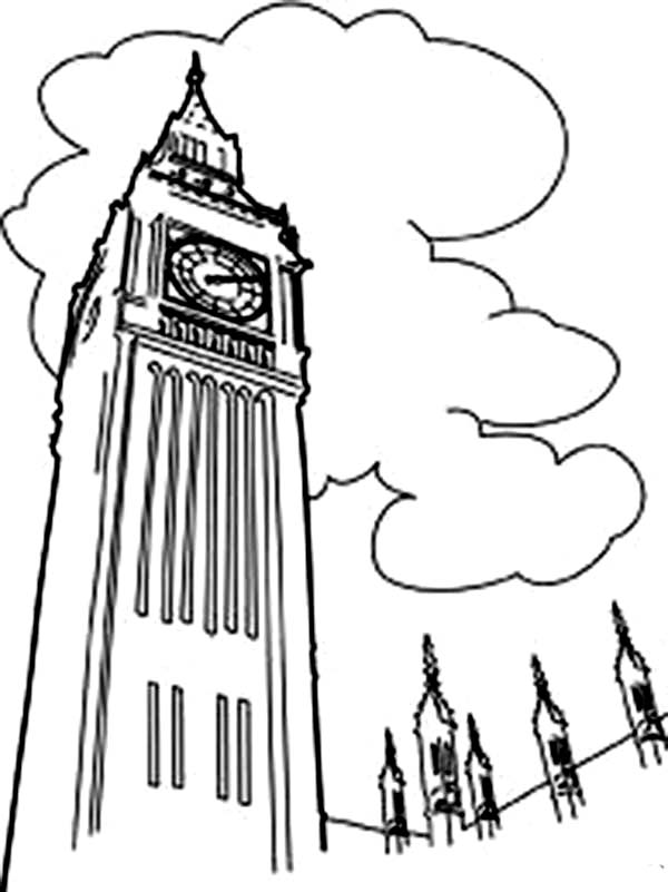 Big Ben, : The Palace of Westminster Big Ben Coloring Page