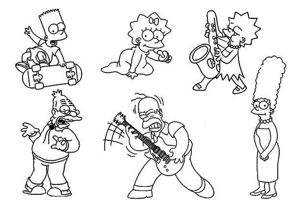 The Simpsons, : The Simpsons Characters Coloring Page