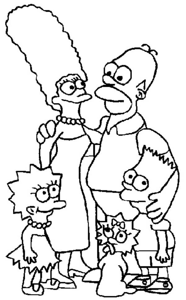 The Simpsons, : The Simpsons Family Picture Coloring Page