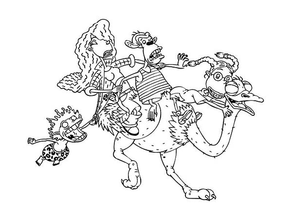 Thornberrys, : The Thornberrys Ride on Ostrich Back Coloring Page