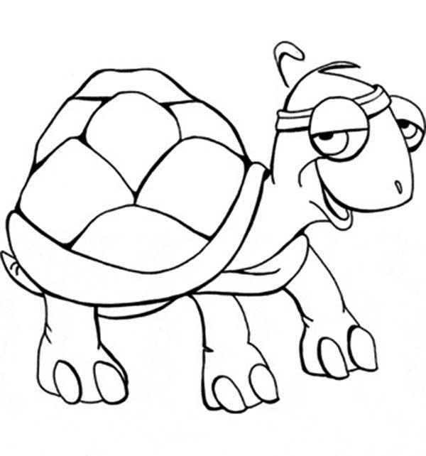 Turtle, : This Turtle is an Athlete Coloring Page