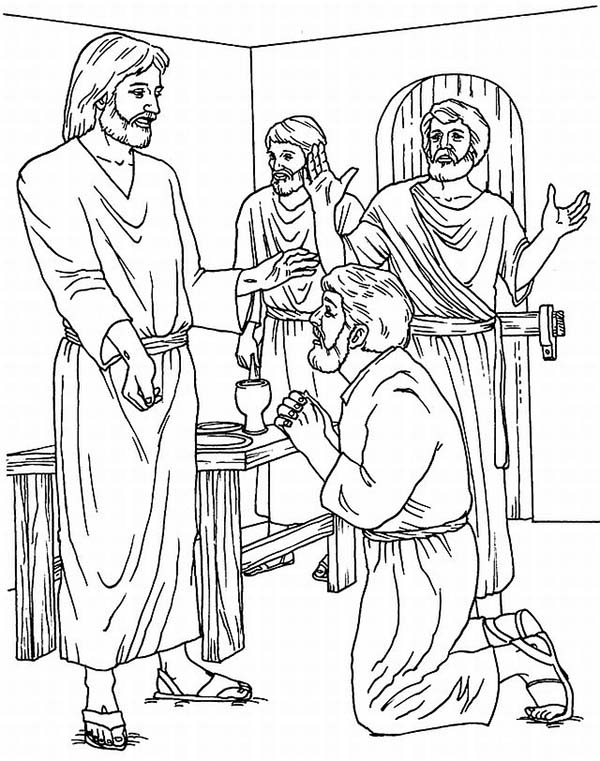 Disciples, : Thomas Disciples of Jesus Ask for Blessing Coloring Page