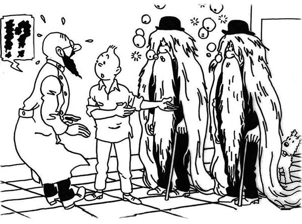 Tintin, : Thomson and Thomson Disguise as an Old Man in the Adventures of Tintin Coloring Page