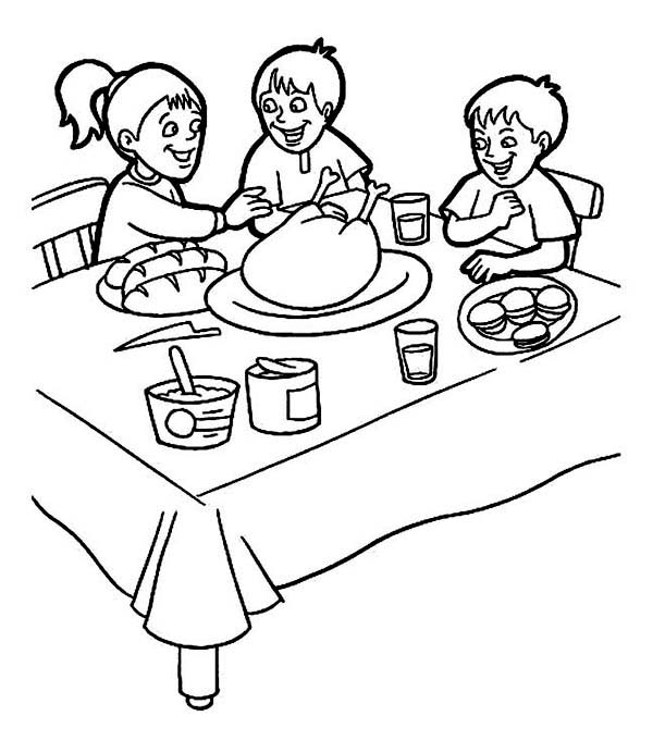 Breakfast, : Three Kids Breakfast on Thanks Giving Coloring Page