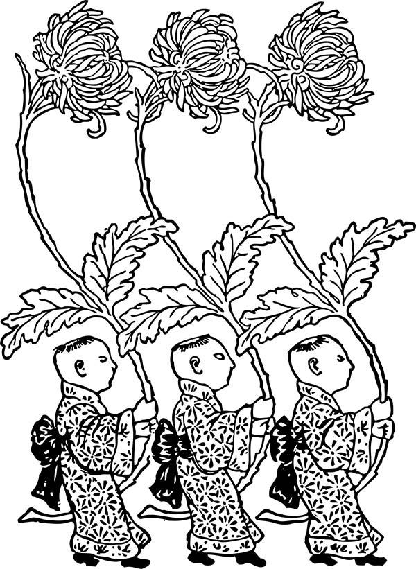 Chrysanthemum, : Three Little Man Holding Chrysanthemum Coloring Page