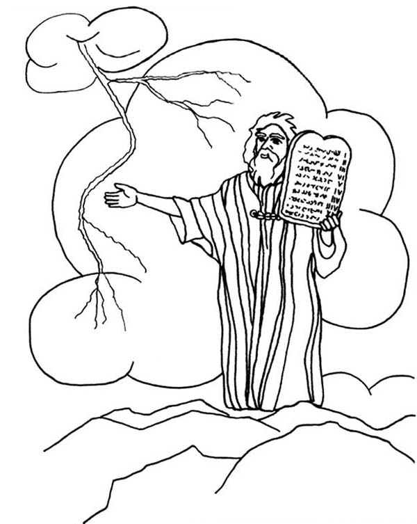 Ten Commandments, : Thunder and Lightnings when Moses Receiving Ten Commandments Coloring Page