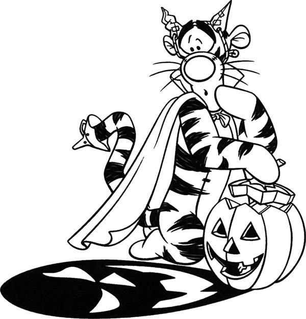 Tigger, : Tigger Holding Halloween Pumpkin Coloring Page