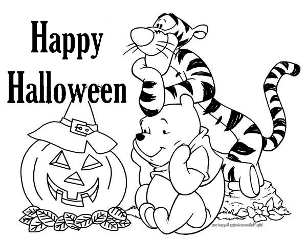 Tigger, : Tigger and Winnie Celebrate Halloween Coloring Page