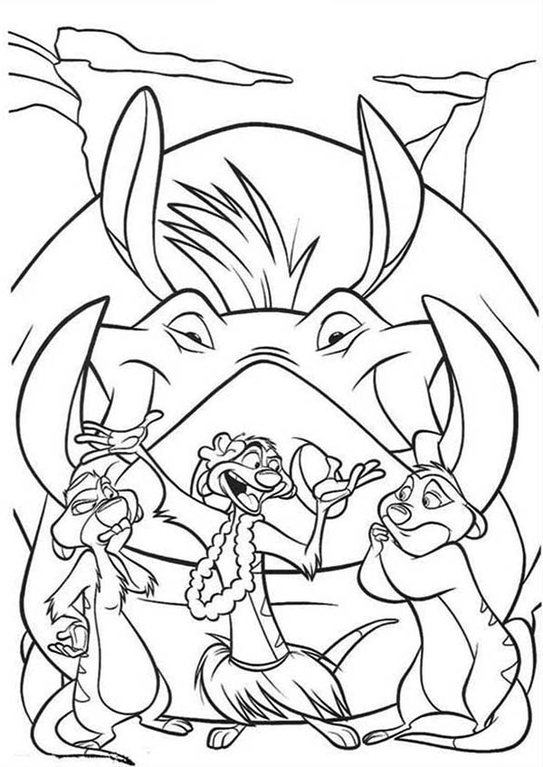 Timon and Pumbaa, : Timon Teach His Friends to Dance in Timon and Pumbaa Coloring Page