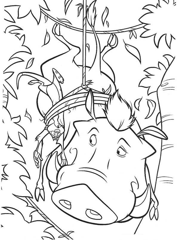 Timon and Pumbaa, : Timon and Pumbaa Stepped on Trap Coloring Page