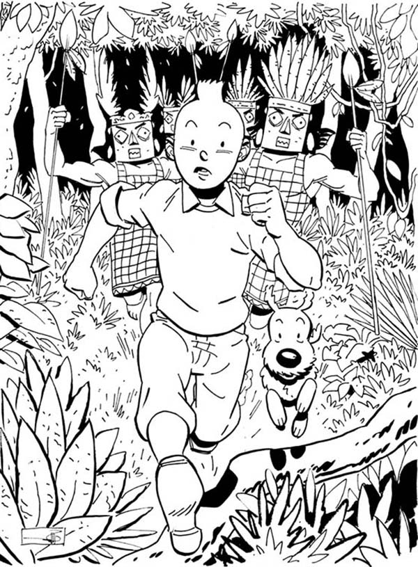 Tintin, : Tintin Chased by in the Adventures of Tintin Coloring Page