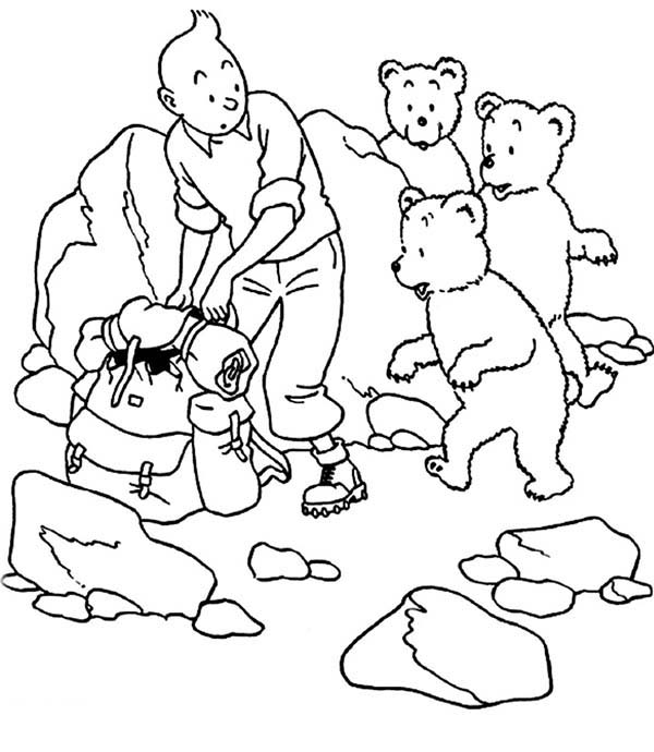 Tintin, : Tintin Helped by Three Little Bear in the Adventures of Tintin Coloring Page