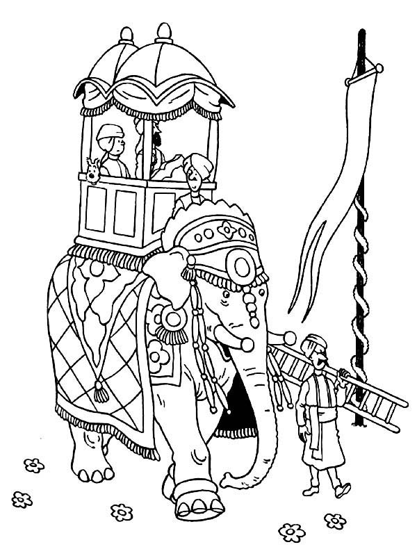 Tintin, : Tintin Ride an Elephant in the Adventures of Tintin Coloring Page
