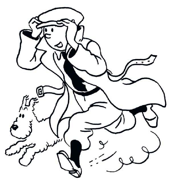 Tintin, : Tintin Running Fast with Snowy in the Adventures of Tintin Coloring Page