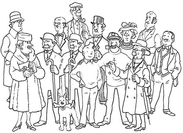 Tintin, : Tintin and All Friends in the Adventures of Tintin Coloring Page