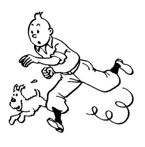 Tintin, : Tintin and Snowy Pursuit Criminal in the Adventures of Tintin Coloring Page