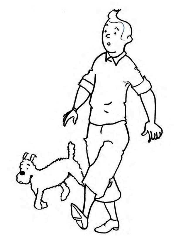 Tintin, : Tintin and Snowy in the Adventures of Tintin Coloring Page
