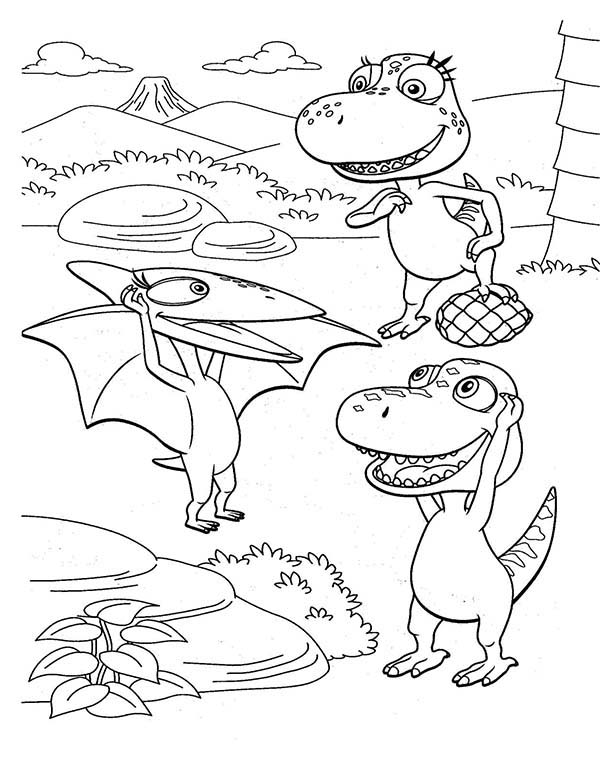 Dinosaurus Train, : Tiny Introduce Herself to Buddy and His Friend in Dinosaurus Train Coloring Page