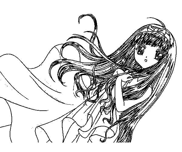 Cardcaptor Sakura, : Tomoyo Daidouji from Cardcaptor Sakura Coloring Page