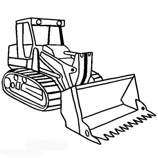 Construction, : Tracked Loader for Construction Job Coloring Page