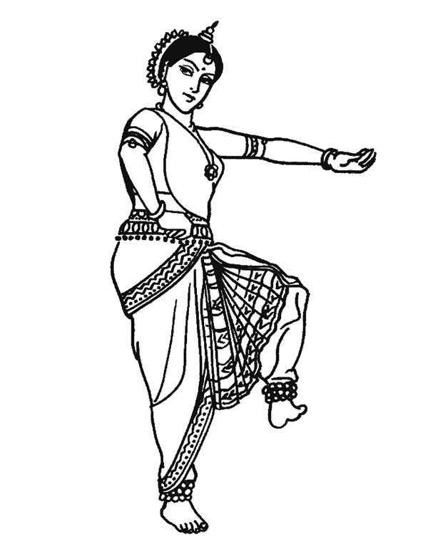 Dance, : Traditional Dance Coloring Page