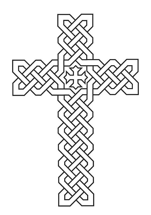 Cross, : Tribal Celtic Cross Coloring Page