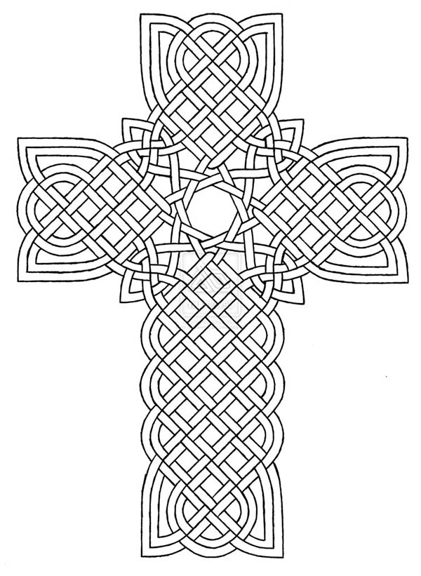 Cross, : Tribal Cross Design Coloring Page