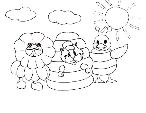The Wonder Pets, : Turtle Tuck Linny and Ming Ming Playing with Costume Wonder Pets Coloring Page