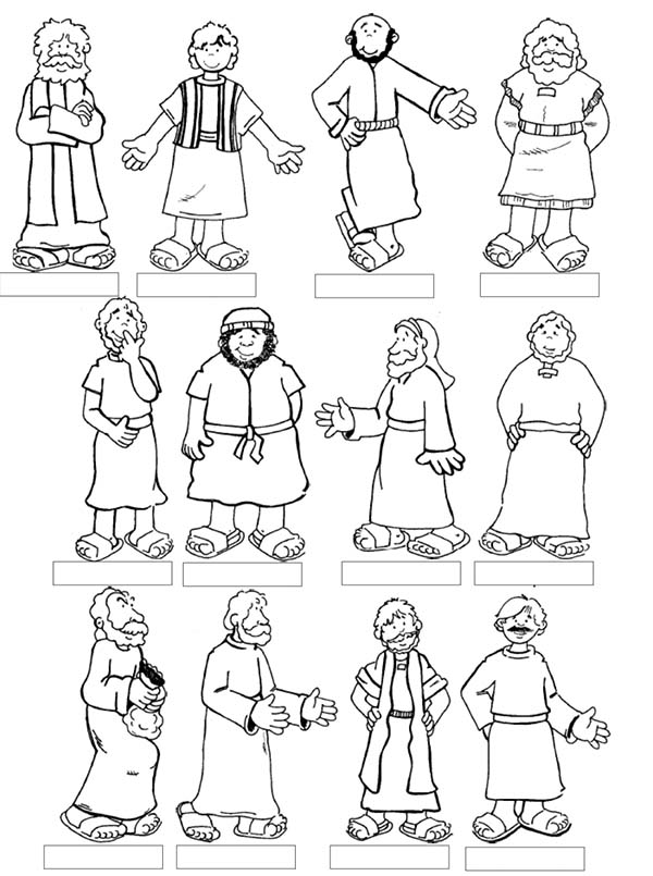 Disciples, : Twelve Disciples of Jesus Coloring Page