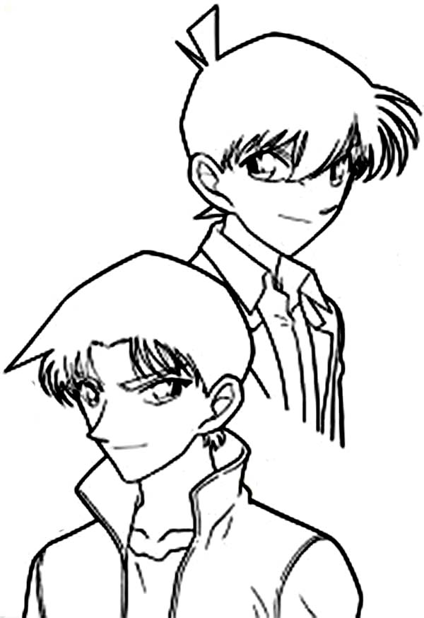 Detective Conan, : Two Best Friends Heiji Hattori and Shinichi Kudo in Detective Conan Coloring Page