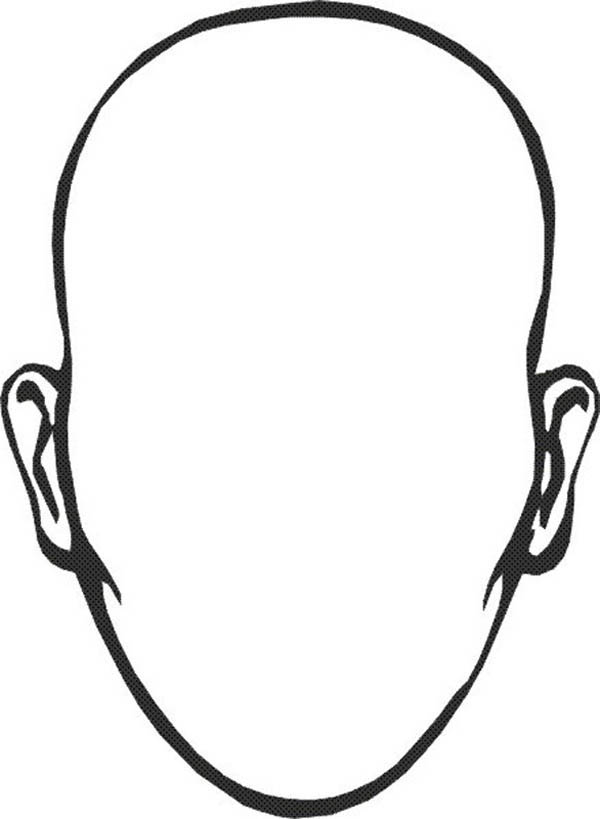 Face, : Type of Face without Hair Coloring Page