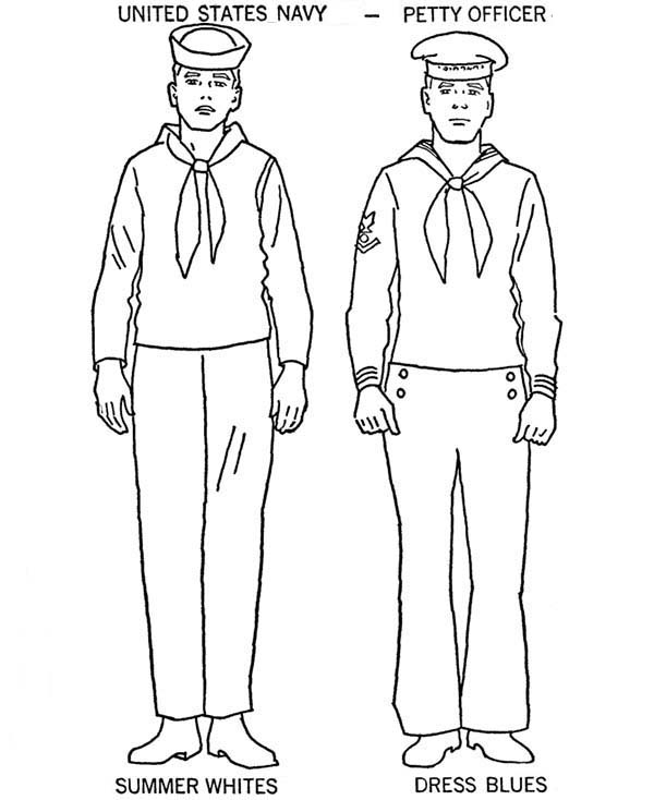 Armed Forces Day, : UD Navy Uniform in Armed Forces Day Coloring Page