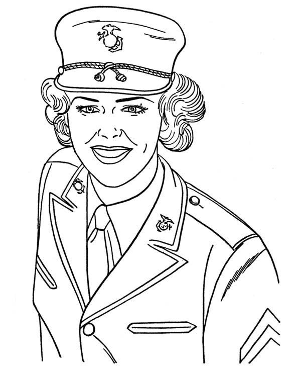 Armed Forces Day, : US Navy Military Woman Soldier in Armed Forces Day Coloring Page