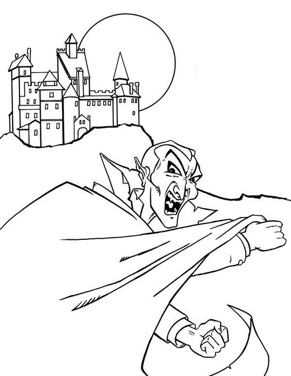 Vampire, : Vampire Castle Coloring Page