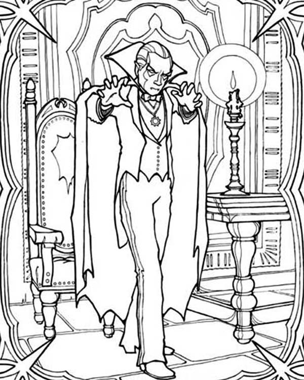 Vampire, : Vampire Residence Coloring Page