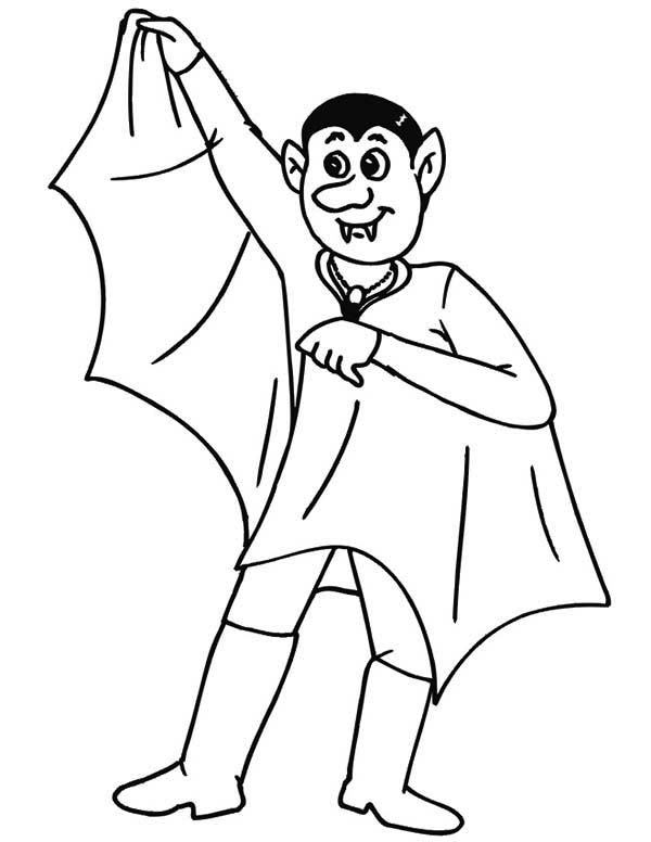Vampire, : Vampire Spread His Wing Coloring Page