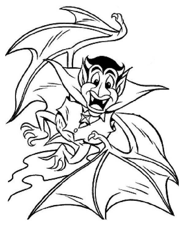 Vampire, : Vampire Transform into Bat Coloring Page