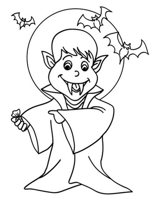 Vampire, : Vampire Under the Monlight Coloring Page